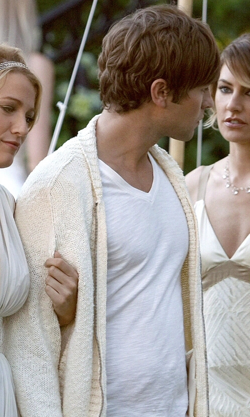 Chace Crawford with Brunello Cucinelli Ribbed Zip Cardigan in Gossip Girl