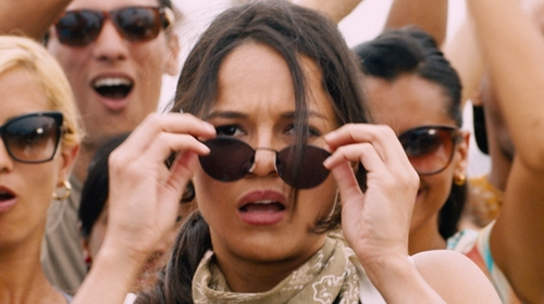 Michelle Rodriguez with Oliver Peoples Corby Round Monochromatic Sunglasses in The Fate of the Furious