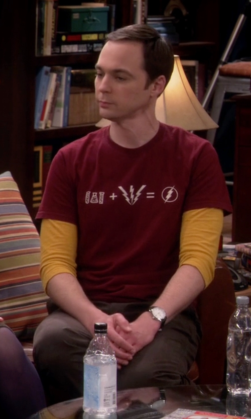Jim Parsons with Cafe Press Flash Equation T-Shirt in The Big Bang Theory