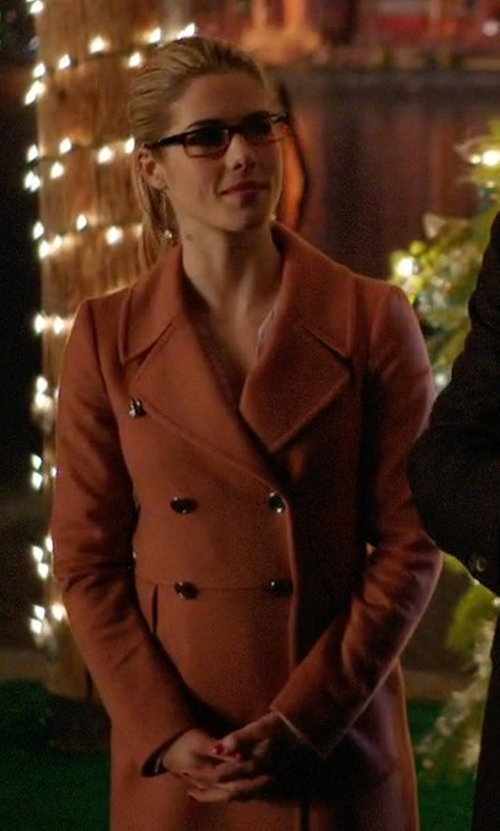 Emily Bett Rickards with Judith And Charles Bisset Coat in Arrow