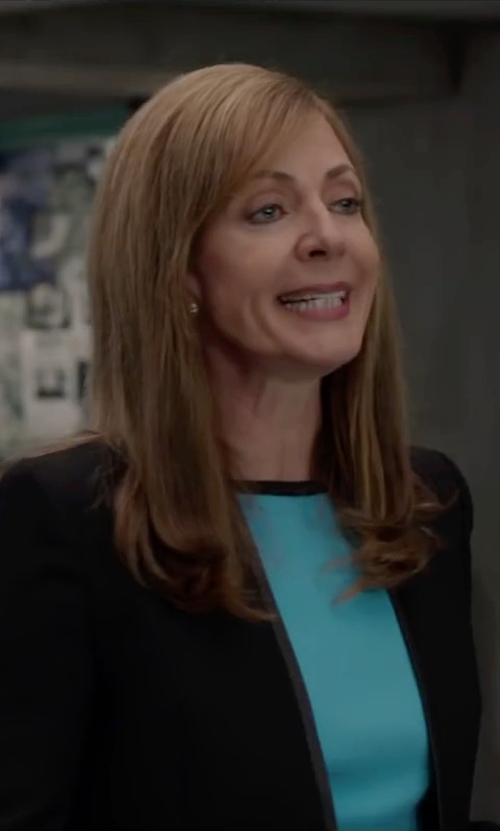 Allison Janney with Liberty Stretch Knit 'Mylo' Long Sleeve Dress in Spy
