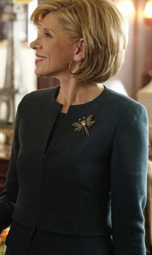 Christine Baranski with Akris Layered Hem Double Face Wool Jacket in The Good Fight