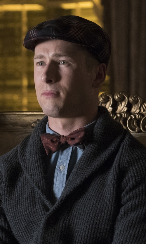 Glen Powell with Rag & Bone 'Curtis' Shawl Collar Merino Wool Cardigan in Scream Queens