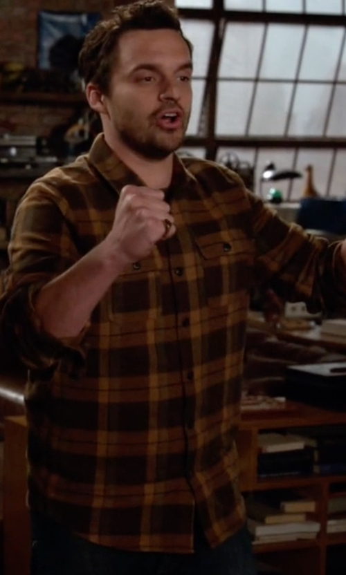Jake Johnson with Pendleton Board Shirt in New Girl
