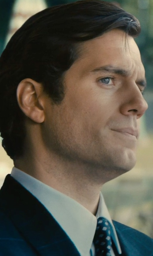 Henry Cavill with Canali White Slim-Fit Cotton-Twill Shirt in The Man from U.N.C.L.E.