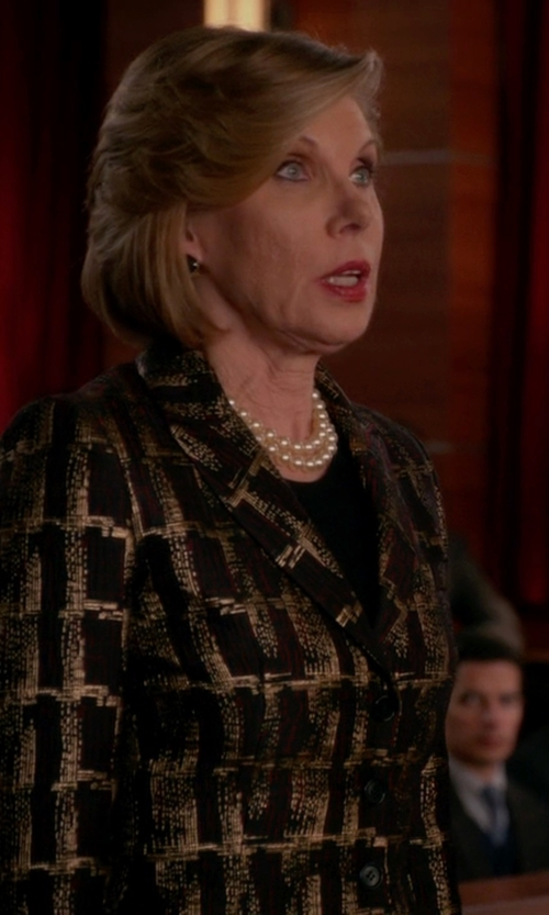 Christine Baranski with Eggs Metallic Jacquard Blazer in The Good Wife