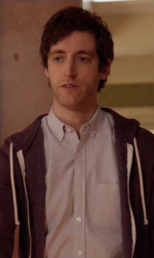Thomas Middleditch with Knowledge Cotton Apparel Striped Oxford Shirt in Silicon Valley