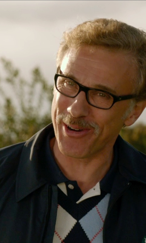 Christoph Waltz with River Island White Contrast Splice Collar Polo Shirt in Horrible Bosses 2