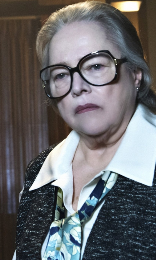 Kathy Bates with Blumarine Silk Floral-Print Scarf in American Horror Story