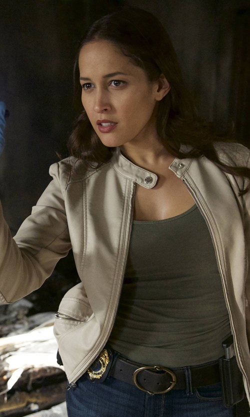 Jaina Lee Ortiz with Express Double Peplum Leather Jacket in Rosewood