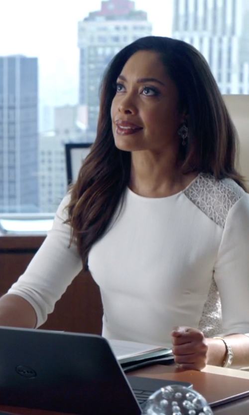 Gina Torres with Jason Wu Crepe and Lace-Panel Dress in Suits