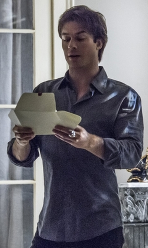 Ian Somerhalder with Threeseasons Dress Shirt Wrinkle Free Fit Basic Dress Shirts in The Vampire Diaries