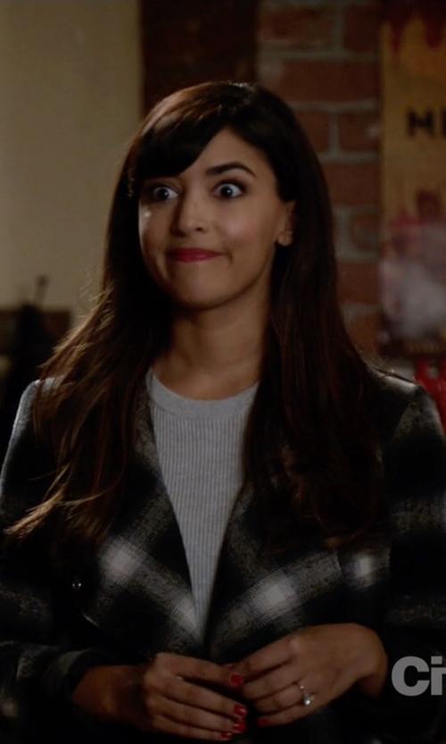Hannah Simone with BB Dakota Draped Plaid Jacket in New Girl