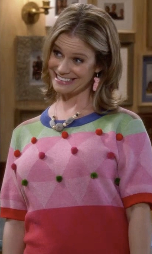 Andrea Barber with Modcloth Carnival of Likes Sweater in Fuller House