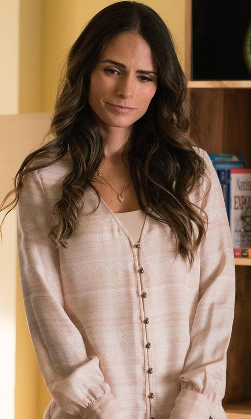 Jordana Brewster with Paige Annalise Silk Blouse in Lethal Weapon