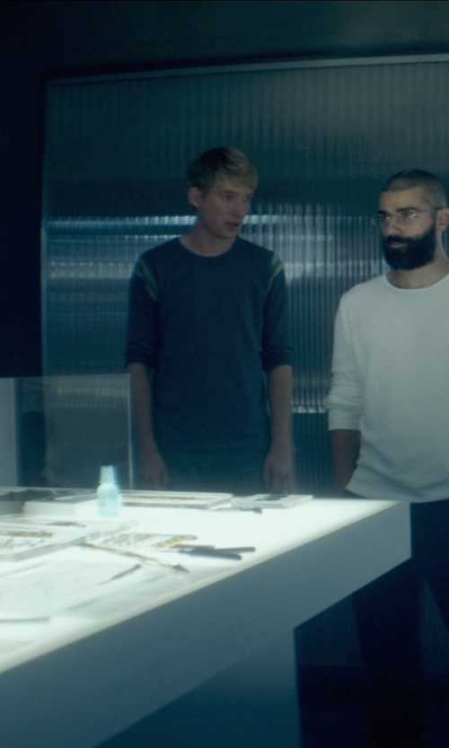 Domhnall Gleeson with James Perse Marled Long-Sleeved Raglan T-Shirt in Ex Machina