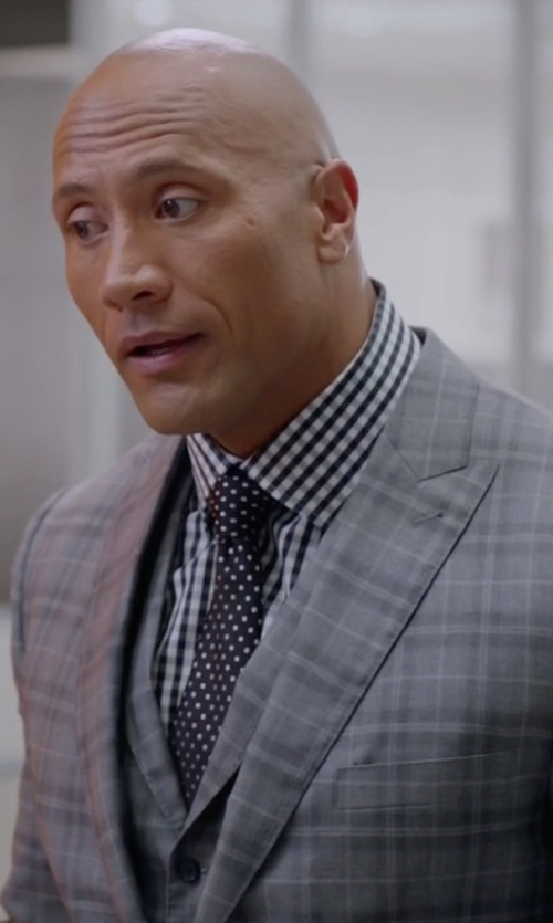 Dwayne Johnson with Brioni Bracciano Wool/Silk 3 Pieces Check Suit in Ballers