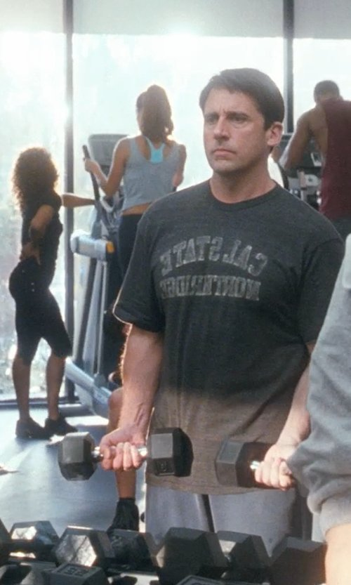 Steve Carell with Under Armour Cal State Northridge Carbon Heather Tech T-Shirt in Crazy, Stupid, Love.