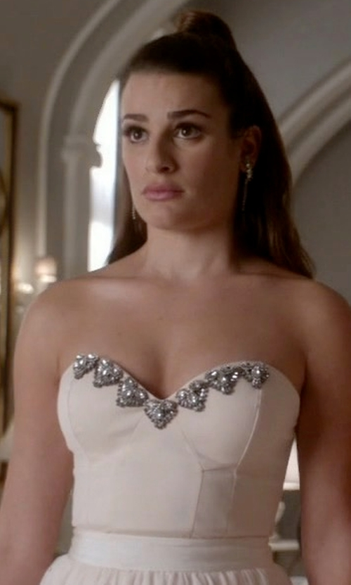 Lea Michele with Ann Taylor Duchess Satin Bustier Top in Scream Queens