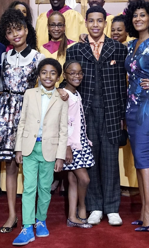 Marsai Martin with Tommy Hilfiger Kids Printed French Terry Dress in Black-ish