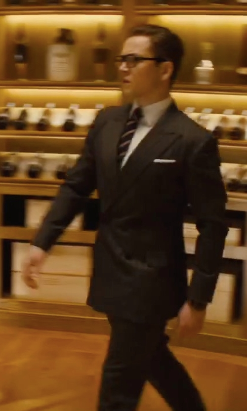 Taron Egerton with Kingsman Eggsy's Charcoal Chalk-Striped Wool Suit Trousers in Kingsman: The Golden Circle