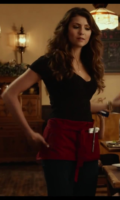 Nina Dobrev with James Perse Casual T-shirt Mini Jersey in Let's Be Cops