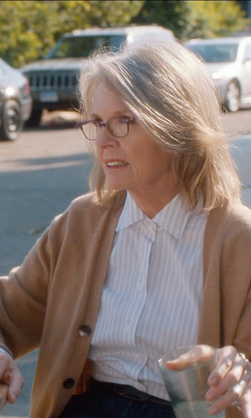 Diane Keaton with Burberry Oversize Merino Wool Cardigan in And So It Goes