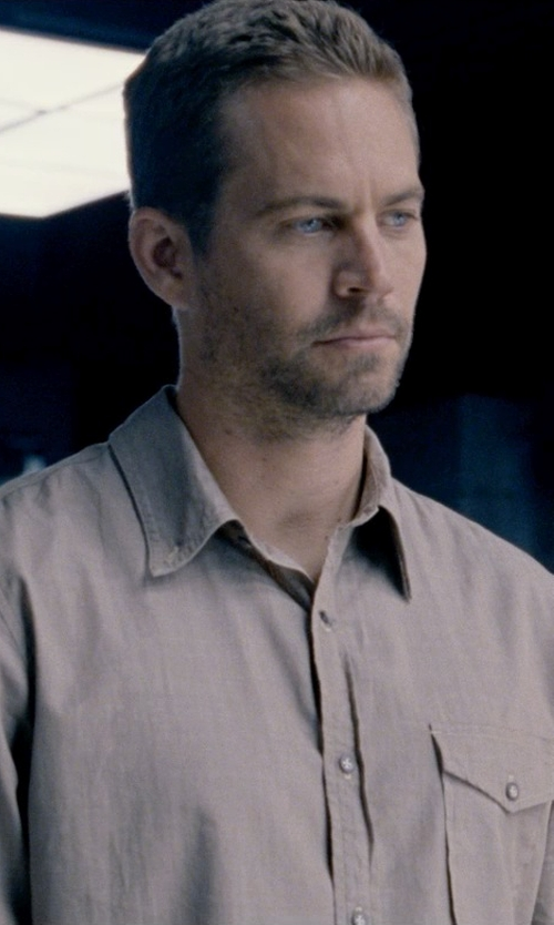Paul Walker with Brooks Brothers Slim Fit Solid Linen Sport Shirt in Fast & Furious 6