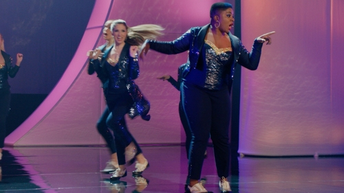 Ester Dean with J.Crew Navy Sequin Tuxedo Pants in Pitch Perfect 2