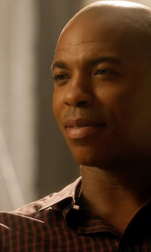 Mehcad Brooks with Richard James Gingham Brushed-Cotton Shirt in Supergirl