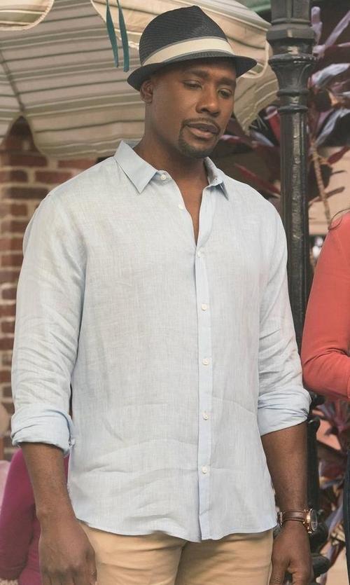 Morris Chestnut with Michael Kors Linen Long-Sleeve Sport Shirt in Rosewood