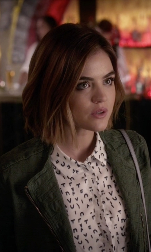 Lucy Hale with Zara Jacquard Jacket with Zips in Pretty Little Liars