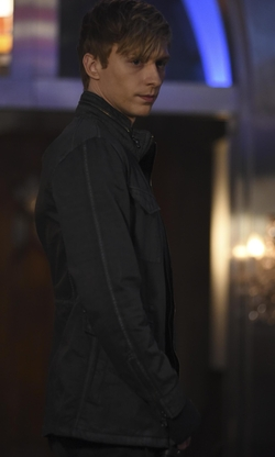 Will Tudor with John Varvatos Star USA Zip-Front Hooded Jacket in Shadowhunters