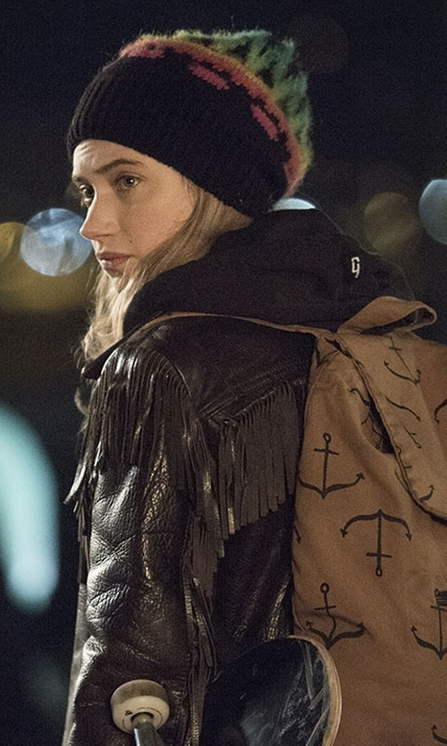 Imogen Poots with Noisy May Fringe Detail Biker Jacket in Roadies