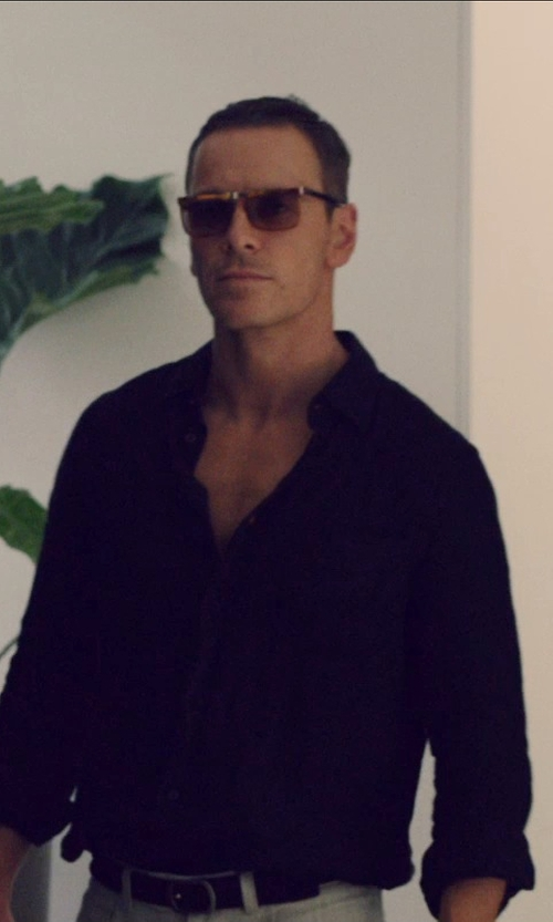 Michael Fassbender with Emporio Armani Smooth and Saffiano Calfskin Reversible Belt in The Counselor