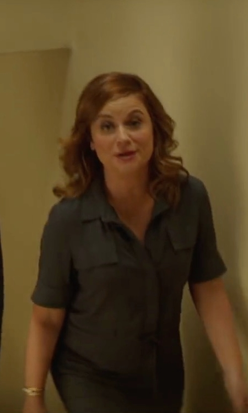Amy Poehler with Peserico Belted Midi Shirt Dress in The House