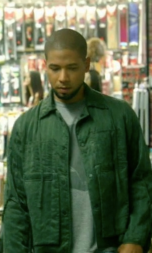 Jussie Smollett with Burberry Tumbled Ramie Cotton Twill Field Jacket in Empire