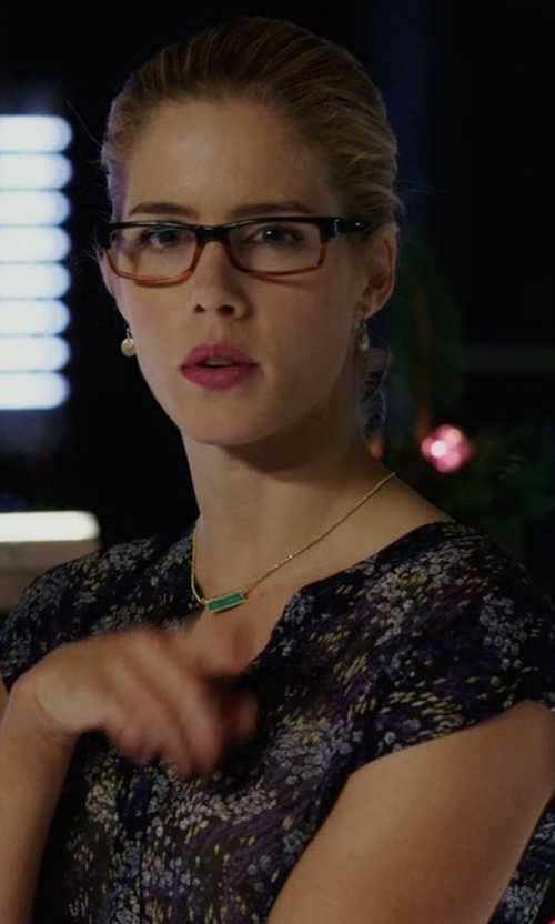 Emily Bett Rickards with Joie Farhana Field-Print Top in Arrow
