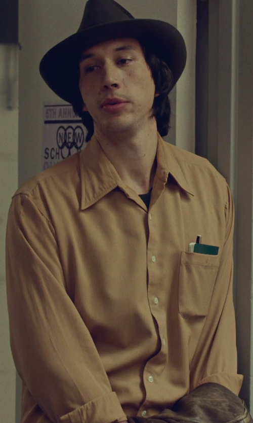 Adam Driver with Geoffrey Beene Non-Iron Sateen Solid Dress Shirt in While We're Young