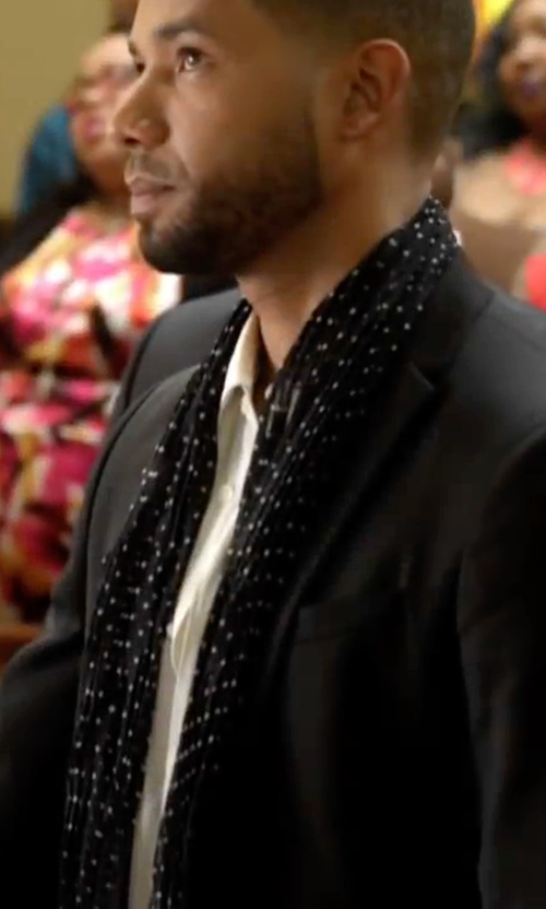 Jussie Smollett with Saint Laurent Signature Pleated Scarf Micro Dot Printed Silk Crepe in Empire