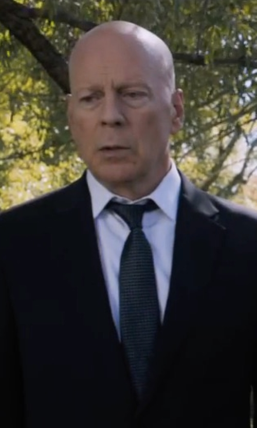 Bruce Willis with Eton Woven Dotted Circles Neat Silk Tie in Death Wish