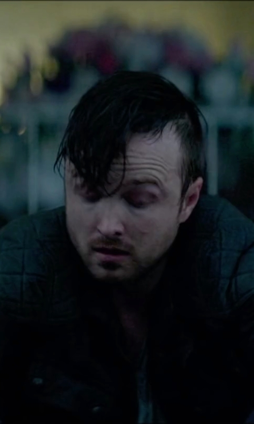 Aaron Paul with Andrew Marc Quilted Moto Jacket in Triple 9