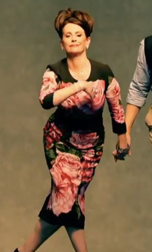 Megan Mullally with Dolce & Gabbana Rose-Print Pencil Skirt in Will & Grace