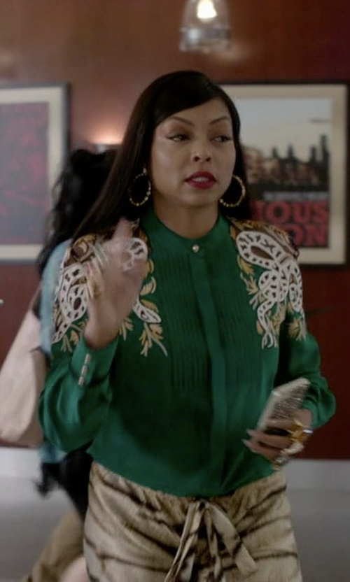 Taraji P. Henson with Maison Rabih Kayrouz Multi-Jacquard Silk-Blend Lamé Shirt in Empire
