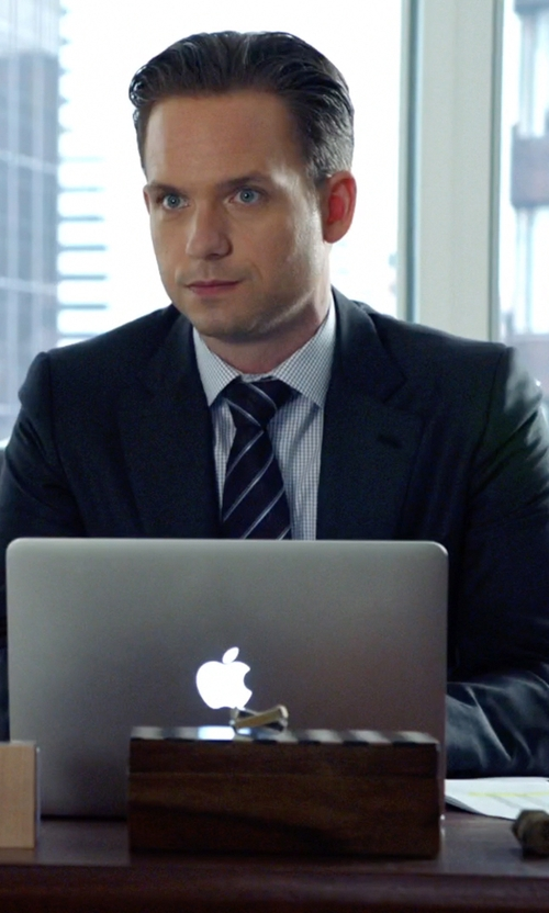 Patrick J. Adams with Apple MacBook Pro in Suits