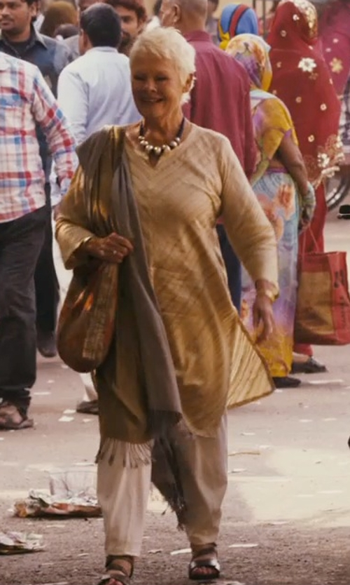 Judi Dench with Vince Fringe-Trim Voile Scarf in The Second Best Exotic Marigold Hotel