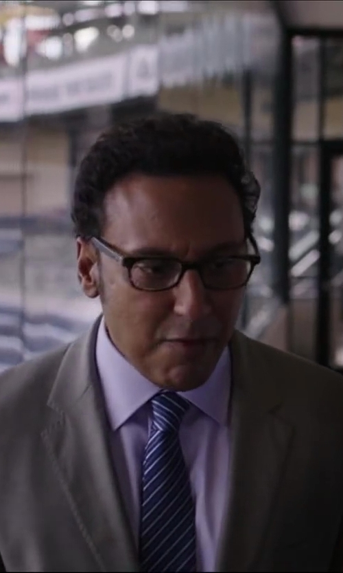 Aasif Mandvi with Brioni Textured Stripe Tie, Blue in Million Dollar Arm