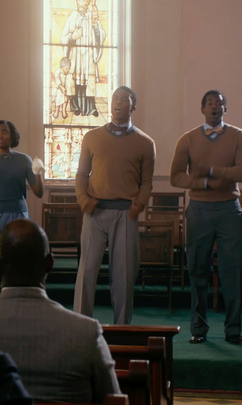Chadwick Boseman with Vince Cashmere V Neck Sweater in Get On Up