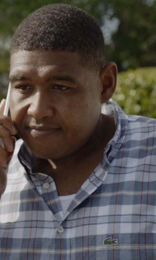 Omar Benson Miller with Lacoste Long Sleeve Button Down Plaid Woven Shirt in Ballers