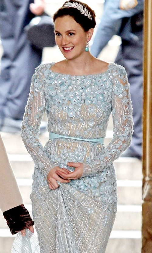 Leighton Meester with Elie Saab  Spring 2012 Haute Couture Fully Embroidered Long Sleeve Dress in Gossip Girl